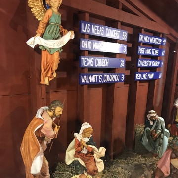 UImage: The nativity scene at a church in Dedham, Massachusetts that pays tribute to shootings and gun violence in the United States.