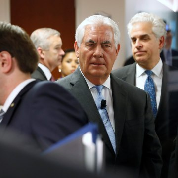Image: Secretary of State Rex Tillerson arrives to deliver remarks on the U.S.-Korea relationship during a forum at the Atlantic Council in Washington