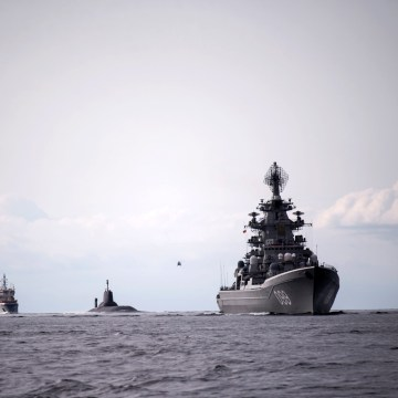 Image: The Russian nuclear submarine Dmitry Donskoy sails in Denmark on July 21, 2017, on its way to Saint Petersburg to participate in a naval parade.