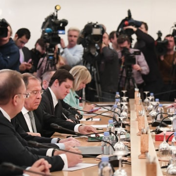 Image: Foreign Secretary Boris Johnson Meets Russian Counterpart Sergei Lavrov In Moscow