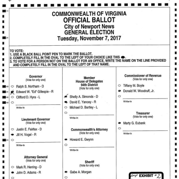 Image: A court filing filed today by the Democratic challenger, Shelly Simonds, who was initially declared the winner shows a ballot from the House Delegates race in Virginia.