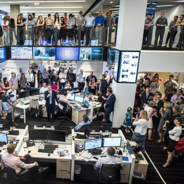 Image: David Fahrenthold is honored after winning the 2017 Pulitzer Prize for National Reporting
