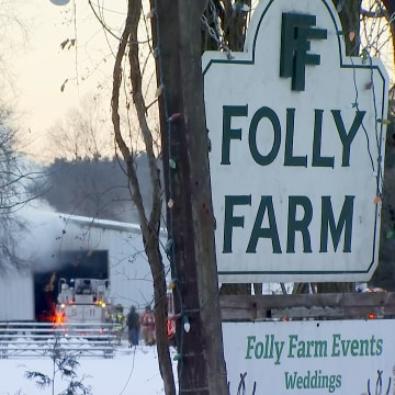 Image: After a fire at Folly Farm in Simsbury, Connecticut, 24 horses passed away due to smoke inhalation.