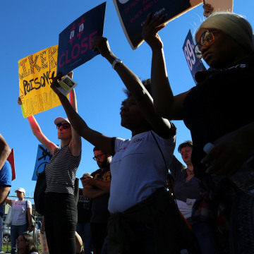 Image: People attend a protest to shut down Rikers Island prison