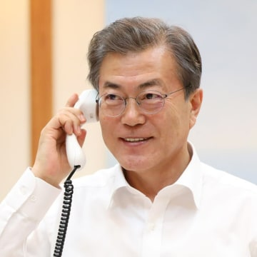 Image: South Korea's Moon Jae-in pictured talking to President Donald Trump Thursday.