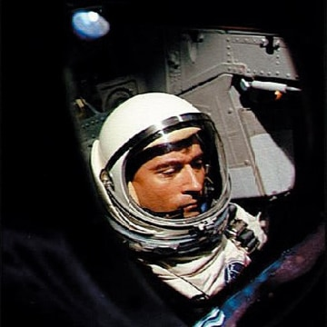 Image: U.S. astronaut John Young aboard Gemini III waiting for the launching of the first orbital maneuver by manned spacecraft on March 23, 1965.