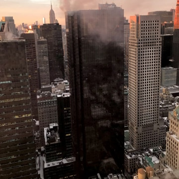 Image: A fire broke out at Trump Tower on Fifth Avenue in New York City on Jan. 8, 2018.