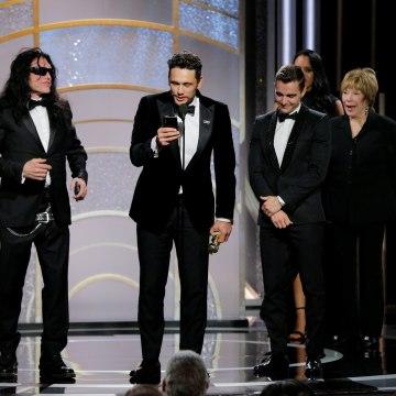 Image: James Franco accept an award at the Golden Globes