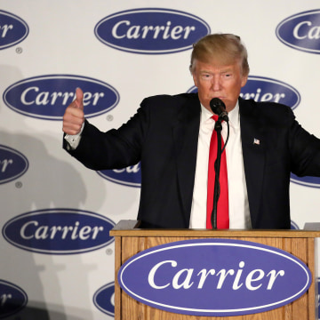 Image: U.S. President-Elect Donald Trump speaks at an event at Carrier HVAC plant in Indianapolis, Indiana, on Dec. 1, 2016.