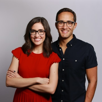 """Image: Correspondents Savannah Sellers and Gadi Schwartz, hosts of the new NBC News Snapchat show """"Stay Tuned."""""""