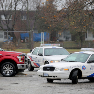 Image: Police officers leave Pauline Johnson Junior Public School, near the site of a reported attack on a girl wearing a hijab in Toronto, Ontario, Canada, on Jan. 12, 2018.
