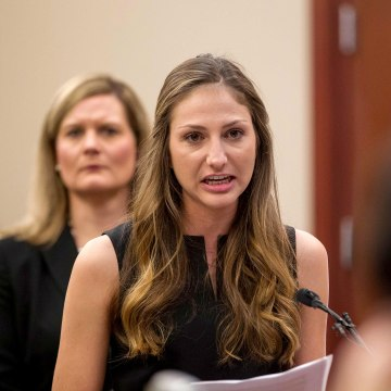 Image: Kyle Stephens, a victim of former Team U.S.A. doctor Larry Nassar, gives her victim impact statement