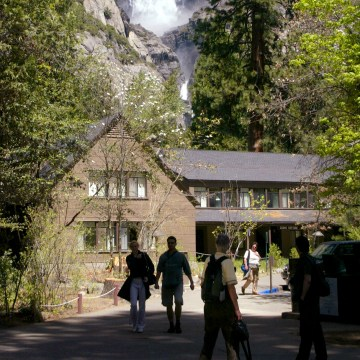 Image: People mill around at Yosemite Lodge