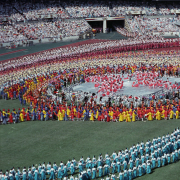 Image: Athletes from a 160 nations parade during the Olympics opening ceremony in 1988