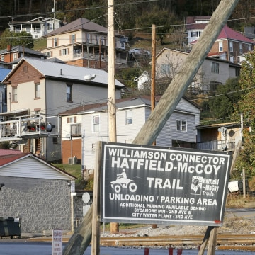 Image: A Hatfield-McCoy Trail sign along a railroad track in Williamson, West Virginia