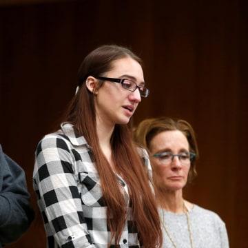 Image: Katie Black gives her victim impact statement
