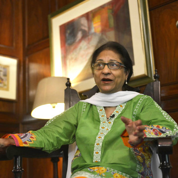 Image: Asma Jahangir gestures during an interview in Lahore