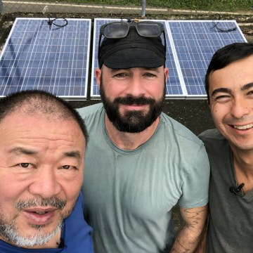 Image: Ai Weiwei, Justin Brice Guariglia and Walter Meyer in Puerto Rico.