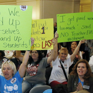 Image: Edmond school counselor Wendy Joseph, left, cheers with other supporters of the teacher pay raise