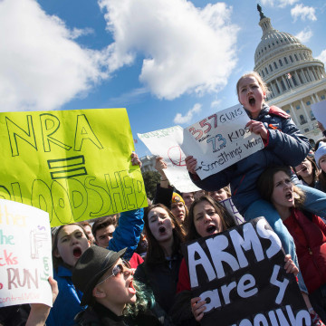 Image: Students rally during a walkout against gun violence on Capitol Hill