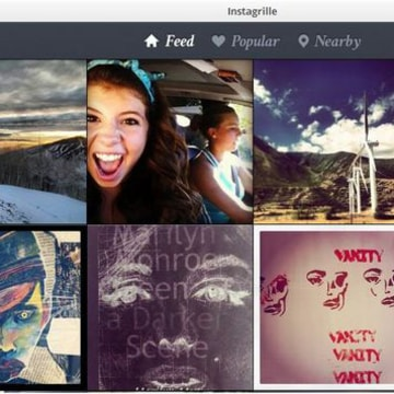 Instagrille's tiled view of Instagram feed