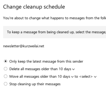 cleanup Outlook mail