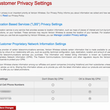 Customer privacy settings, Verizon Wireless