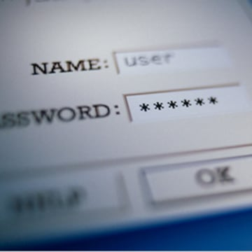 user name, password login on screen