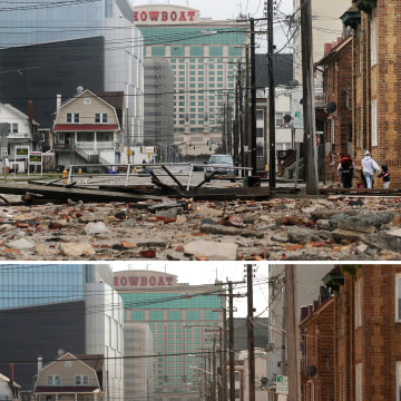 "A section of the ""uptown"" boardwalk destroyed by flooding from Hurricane Sandy as seen on October 30, 2012 in Atlantic City, New Jersey. Below, the same section, long cleared of debris, as seen on April 25, 2013."