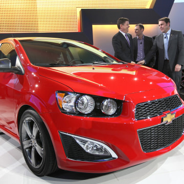 DETROIT, MI - JANUARY 09:  Chevrolet introduces the 2013 Chevrolet Sonic during the press preview at the North American International Auto Show at the...