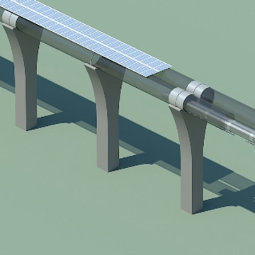 Hyperloop capsule in tube cutaway with attached solar arrays
