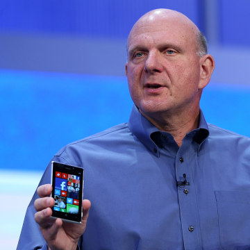 SAN FRANCISCO, CA - JUNE 26:  Microsoft CEO Steve Ballmer holds two Windows phones as he speaks during the keynote address during the Microsoft Build ...