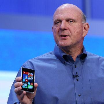 SAN FRANCISCO, CA - JUNE 26:  Microsoft CEO Steve Ballmer holds two Windows phones as he speaks during the keynote address during the Microsoft Build ...