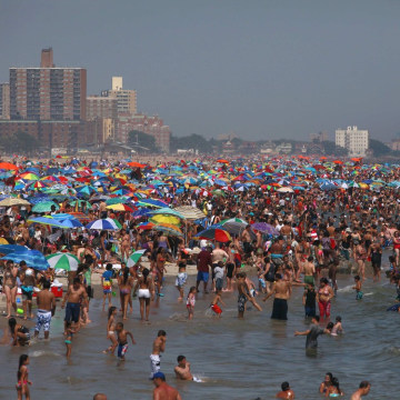 People crowd at the beach