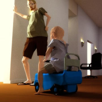 "Ryan and Joel's avatars in the video game ""That Dragon, Cancer."" Josh, who served as the lead artist for the game, said that he hoped the game would have a magical realist quality to it to reflect both Ryan's spirituality and the reality of his current family dynamic."