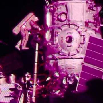 In this image from video made available by NASA, Russian cosmonaut Fyodor Yurchikhin participates in a spacewalk outside the International Space Stati...