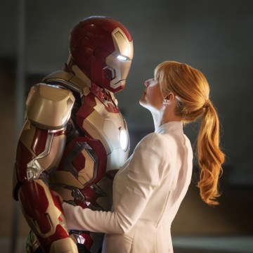 "This film publicity image released by Disney-Marvel Studios shows Gwyneth Paltrow as Pepper Potts with  in a scene from ""Iron Man 3.""  (AP Photo/Disne..."