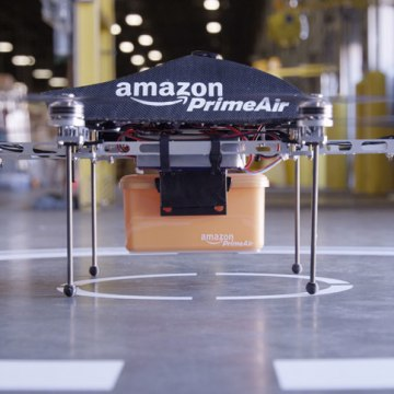 """PrimeAir"" is the name of Amazon's concept drone delivery fleet."