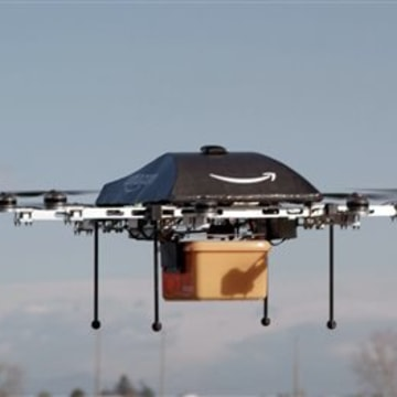 This undated image provided by Amazon.com shows the so-called Prime Air unmanned aircraft project that Amazon is working on in its research and development labs. Public relations experts say the announcement was a clever way to generate publicity around Cyber Monday.