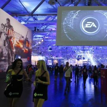 IMAGE: Electronic Arts EA exhibition stand during the Gamescom 2013 fair