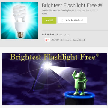 "IMAGE: Goldenshores Technologies LLC's ""Brightest Flashlight Free"" app"