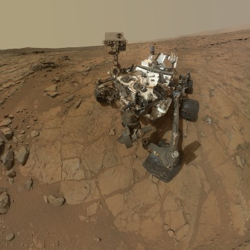 IN SPACE - FEBRUARY 3:  In this handout image provided by NASA, a self-portrait of the Mars rover Curiosity combines dozens of exposures.