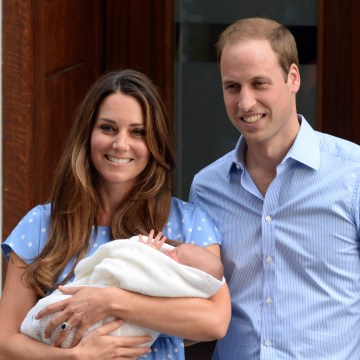 LONDON, UNITED KINGDOM - JULY 23: Catherine, Duchess of Cambridge, Prince William, Duke of Cambridge and their newborn son, Prince George of Cambridge.