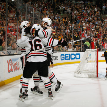 BOSTON, MA - JUNE 24:  Bryan Bickell #29 of the Chicago Blackhawks celebrates his goal to tie the game at 2-2 against Boston Bruins in the thrid perio...