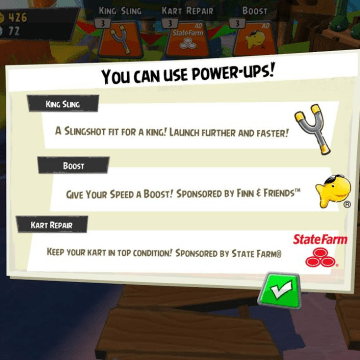 Yes, even the power-ups in the game are sponsored.