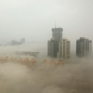 Buildings are shrouded in smog on December 8, 2013 in Lianyungang, China.