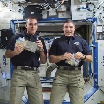 Astronauts Rick Mastracchio, left, and Mike Hopkins