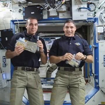 Astronauts Rick Mastracchio, left, and Mike Hopkins