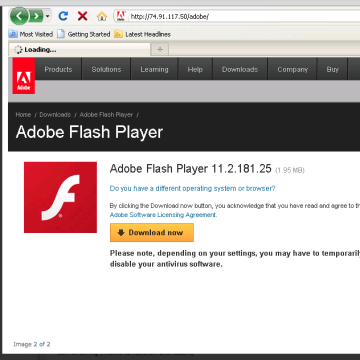 This is a sample screenshot of the malicious IP hosting a fake Adobe Flash Player update.