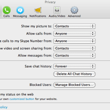 Skype privacy settings